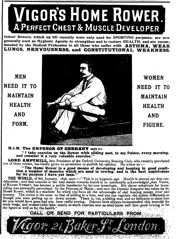 Home Rower advertisement from Black and White, 14 03 1896