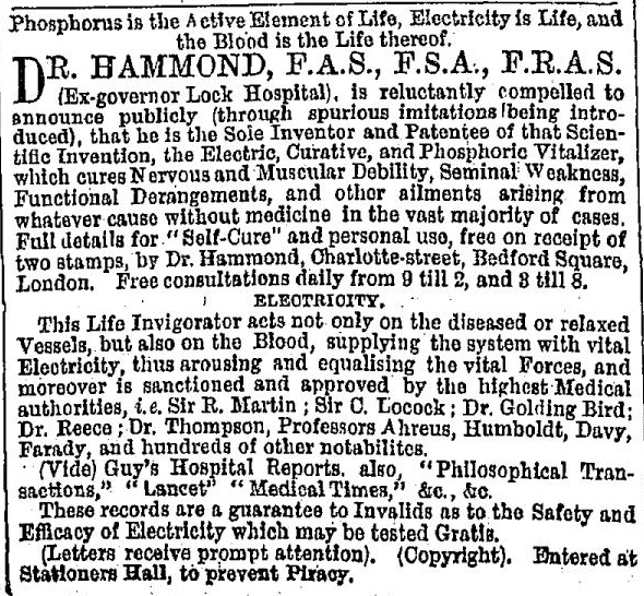 Dr Hammond Advert, 1868