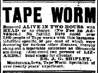 Tape Worm advertisement from 1895