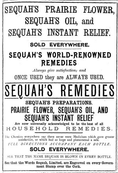 Advert for Sequah's remedies