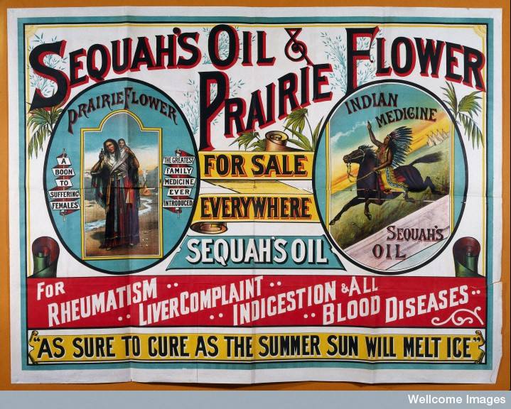Advertisement for Sequah's Oils and Prairie Flower.