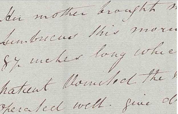 Surgeon P Power's handwriting