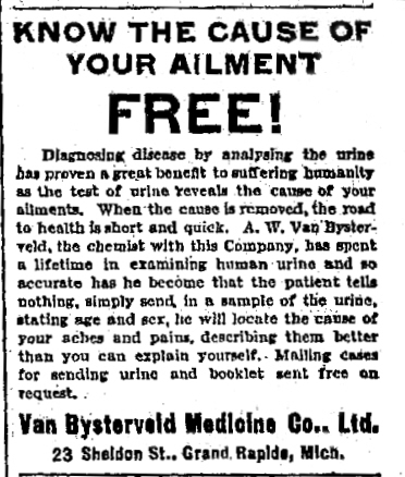 1910 advert for the Van Bysterveld Medicine Company
