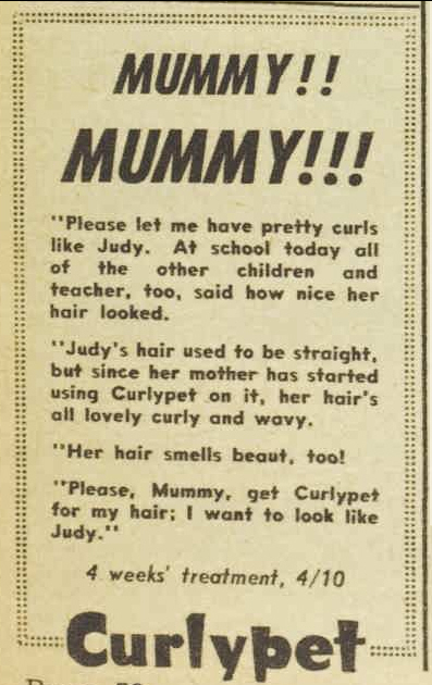 Curlypet ad from Australian Women's Weekly 17 Jan 1962