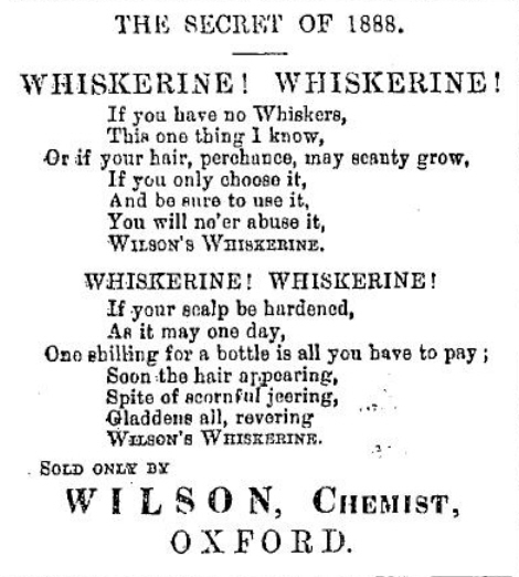 Whiskerine, from Jackson's Oxford Journal 12 Dec 1891
