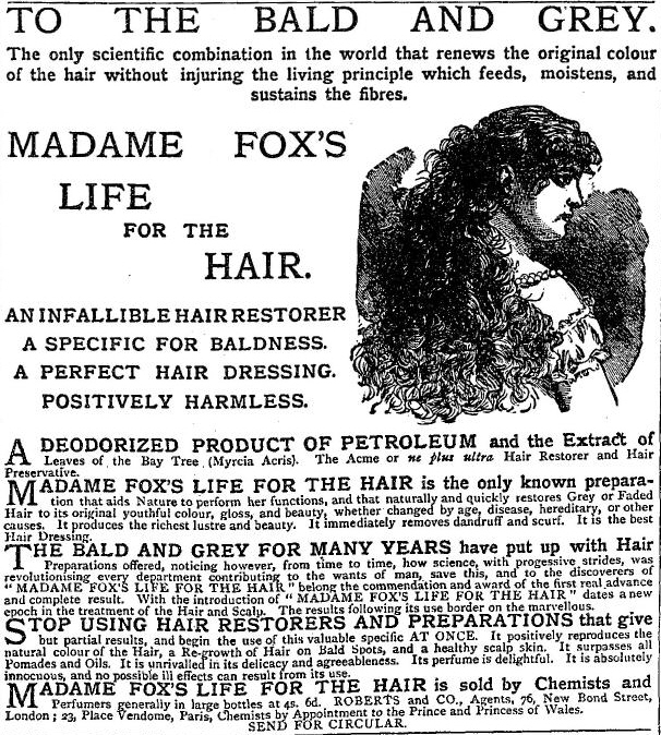 Madame Fox's Life for the Hair, The Graphic 4 March 1882