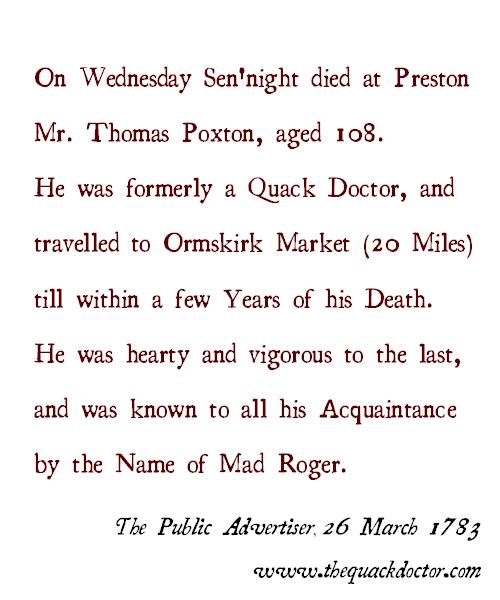 The Obituary of Thomas Poxton