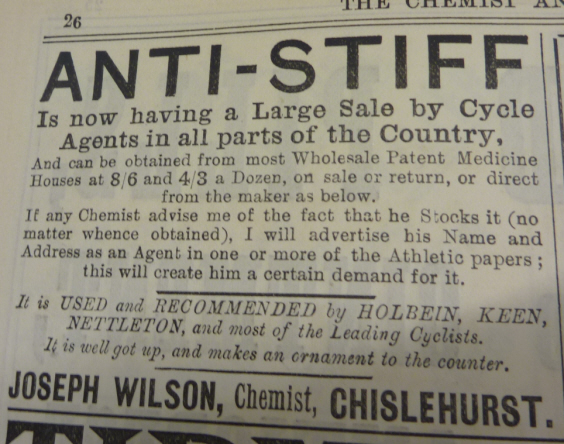 Anti-Stiff advert from The Chemist and Druggist, 7 June 1890