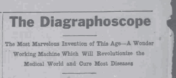 Diagraphoscope Advert Headline, 1911
