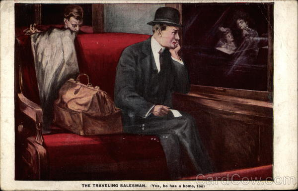 1910, Traveling salesman on a train