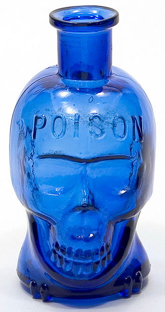 Skull-shaped poison bottle