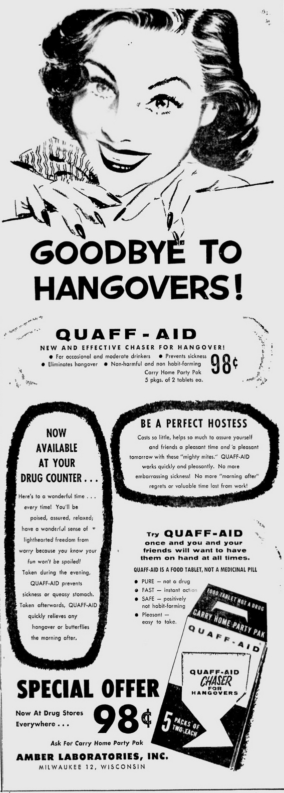 Quaff-Aid advertisement, Milwaukee Sentinel 28 June 1955