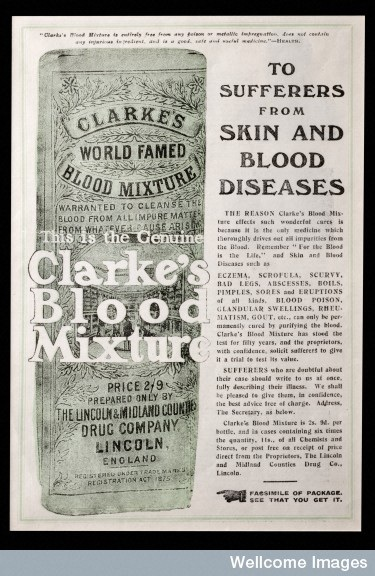 Clarke's Blood Mixture - advertisement featuring picture of packaging