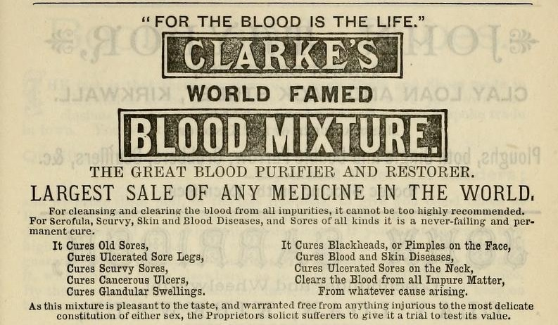 Clarke's Blood Mixture advertisement, 1888