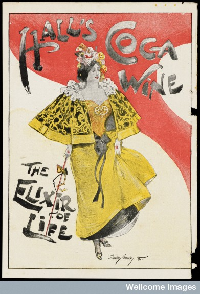 Advert for Hall's Coca Wine - the Elixir of Life. Designed by Dudley Hardy