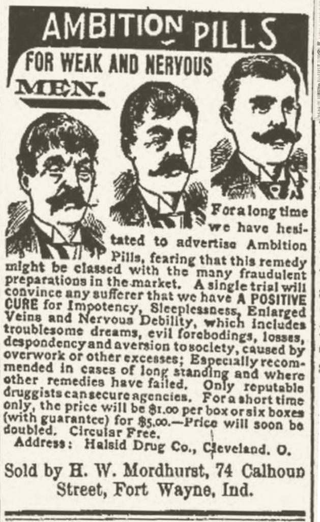 Ambition pills, 1896