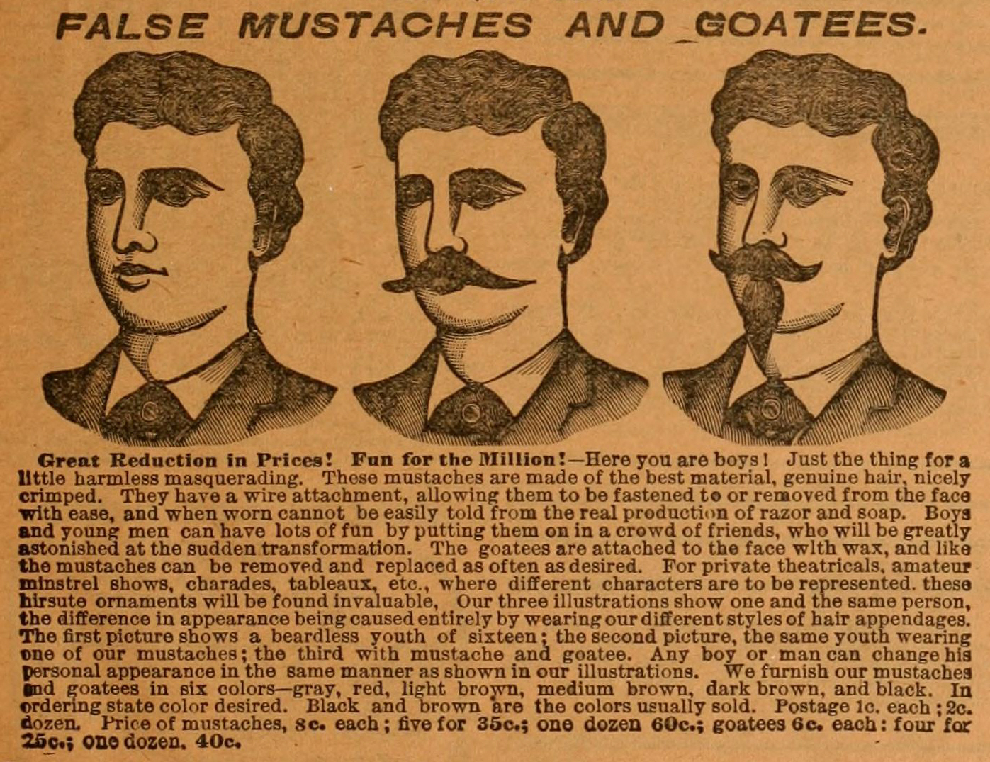 False mustaches 1898