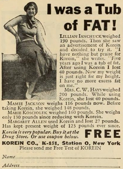 Korein advertisement, c. 1930s