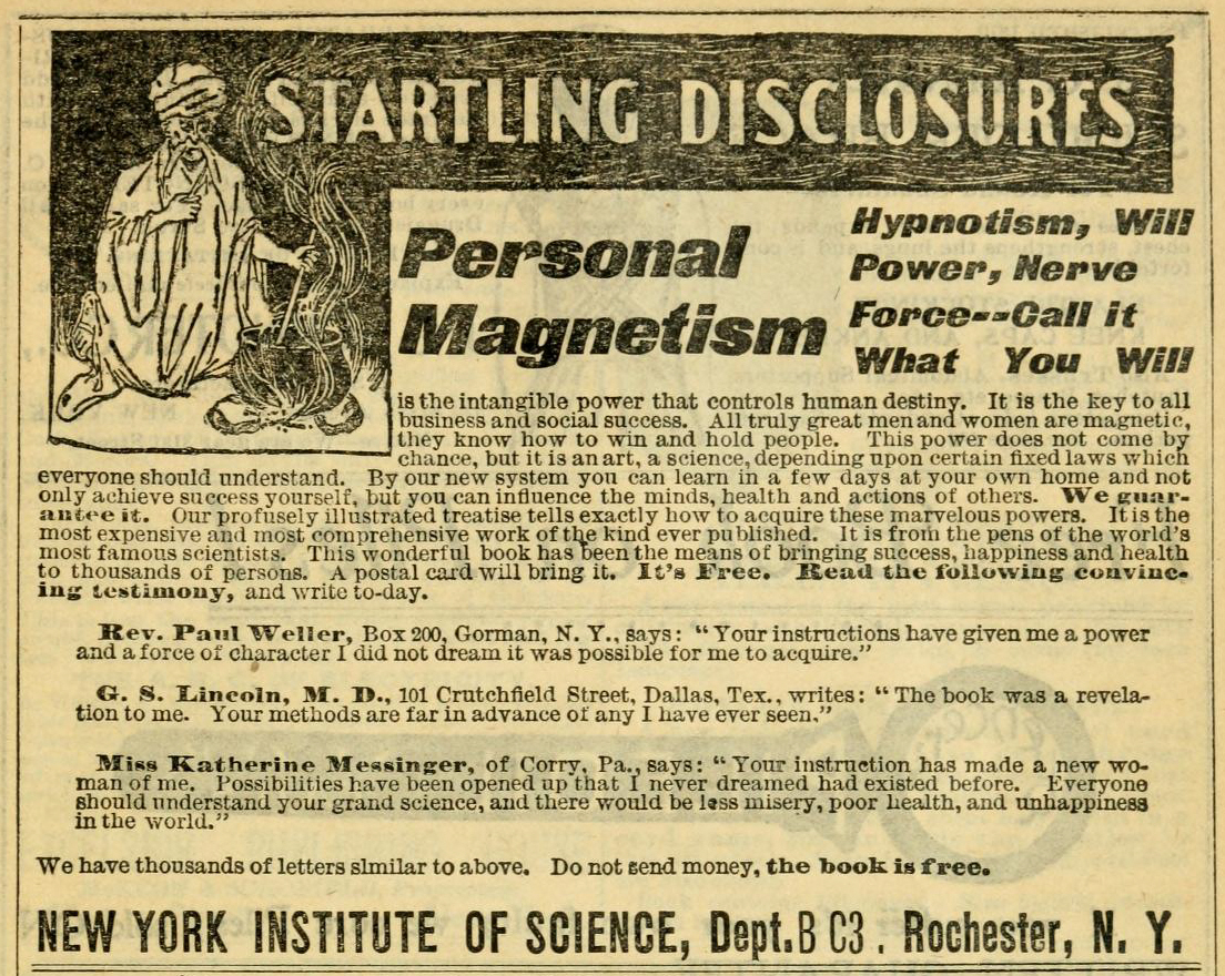 Personal Magnetism advertisement from New York Institute of Science, c1900-1910