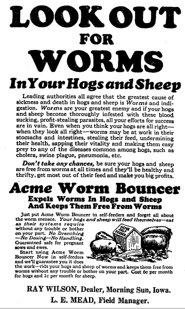Acme Worm Bouncer, from the Morning Sun News Herald, Iowa, 22 December 1927