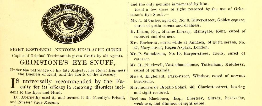 Grimstone ad, 1840