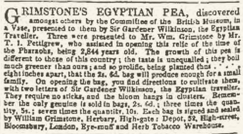 Advert for Grimstone's Egyptian Pea, The Atlas, 28 May 1858