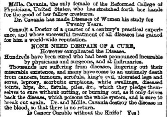 Cavania - sheffield and rotherham independent 28 sept 1865