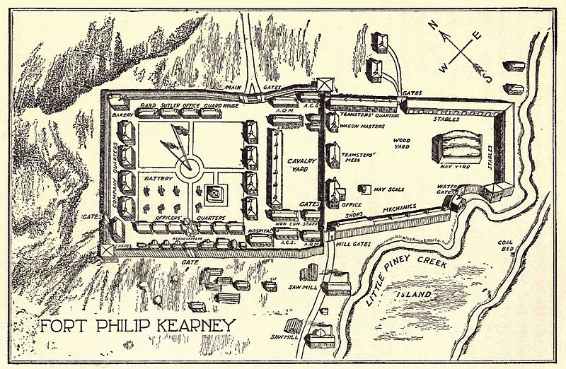 Plan of Fort Phil Kearny from Indian Fights and Fighters (1904)