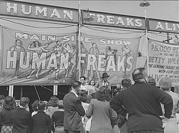 Outside a freak show at the Rutland Fair, Vermont, 1941. Jack Delano.