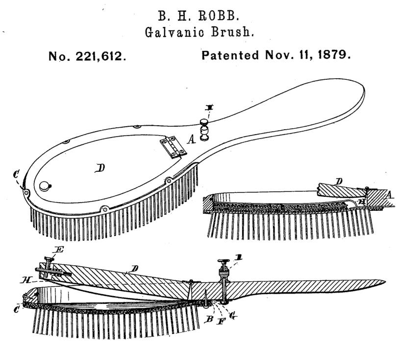 1879 Patent 221612 - Byron H Robb's Galvanic Brush