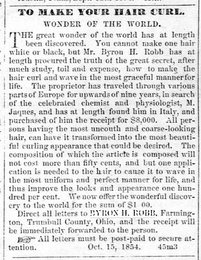 Ad, New York Times, 11 Sep 1854