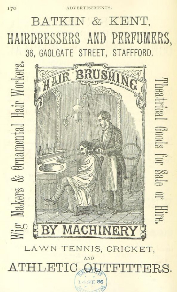 Hair-Brushing with Machinery, Advertisement 1886