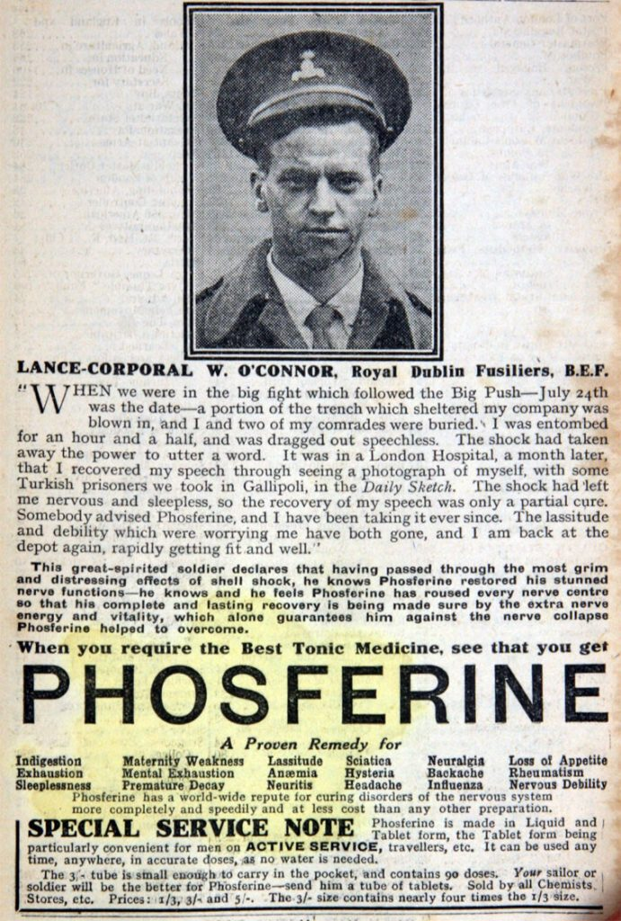 A 1919 Phosferine advertisement, from Grace's Guide