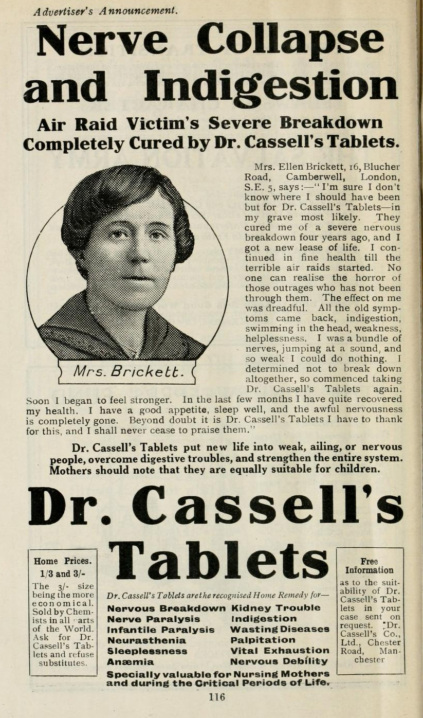 Dr Cassell's Tablets, advertised in 'Overseas', June 1919