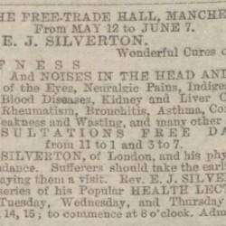 Advertisement for the Rev E J Silverton, 1884
