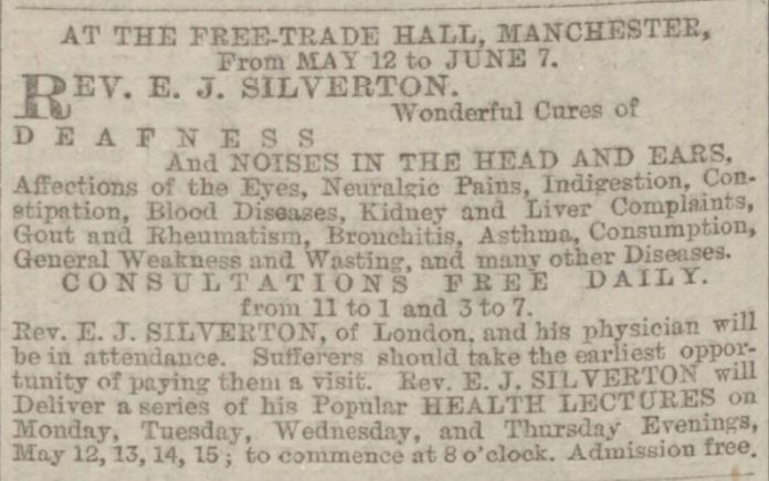 Advertisement for the Rev E J Silverton, 1884