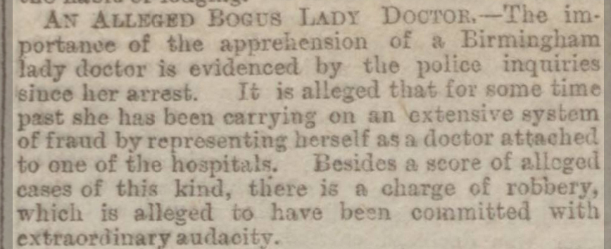 The Alleged Bogus Lady Doctor