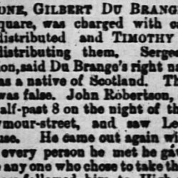 Du Brange mentioned in The Times, Sat 30 Oct 1869 (www.newspapers.com)