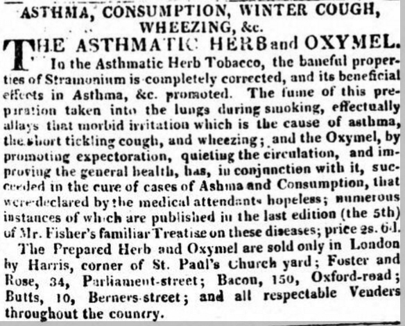 Fisher's Asthmatic Herb Tobacco, Advertisement in the The Globe (London), 14 Oct 1811 (British Newspaper Archive)