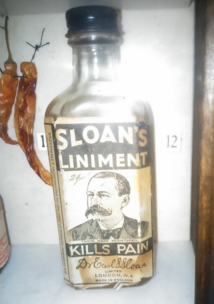 Sloan's Liniment bottle at The Old Operating Theatre museum, London.