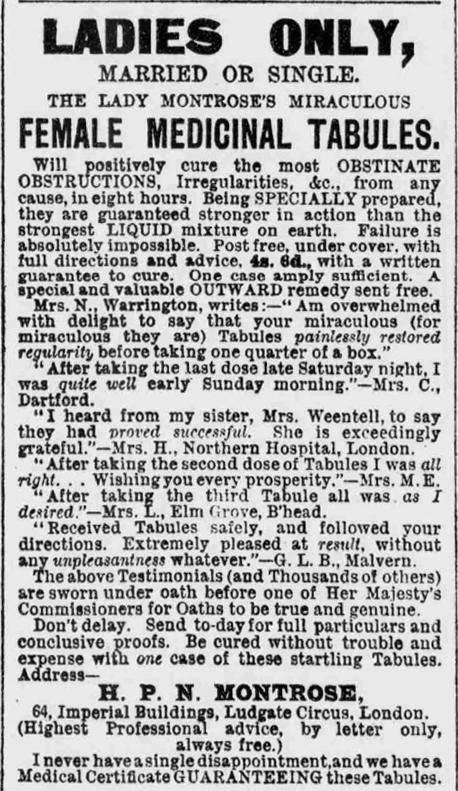 Lady Montrose advert, 24 April 1897
