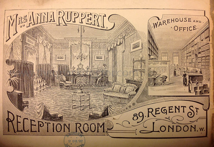 Anna Ruppert's headquarters at Regent Street, pictured in Book of Beauty, 1894