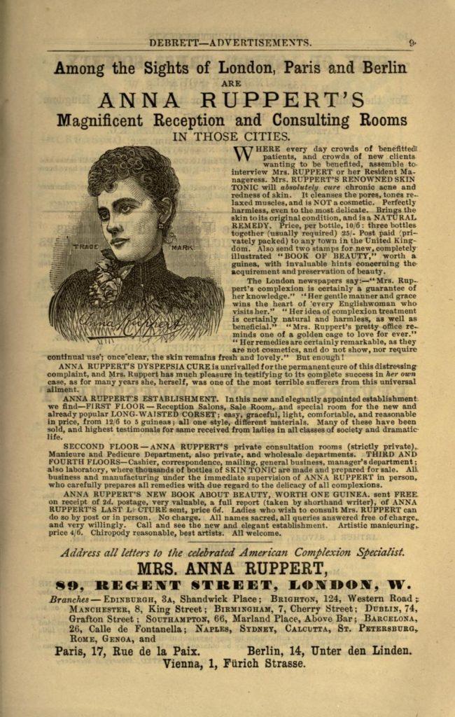 Anna Ruppert's advertisement in Debrett's, 1893
