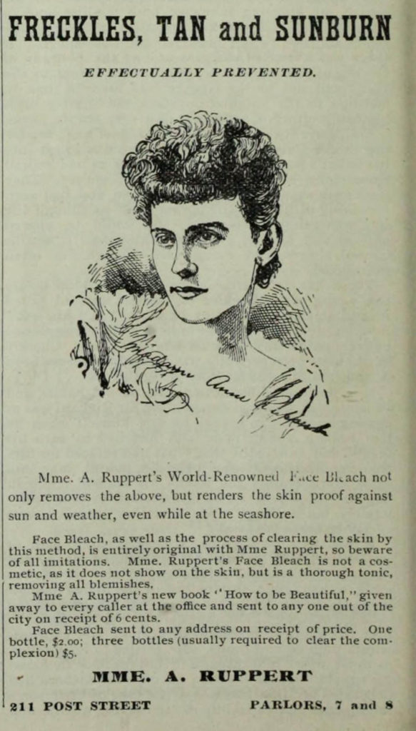 Advertisement published in The Wave, San Francisco, 8 August 1891